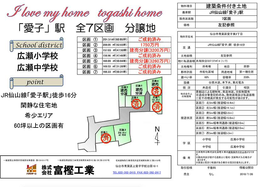 愛子東2丁目分譲地図面